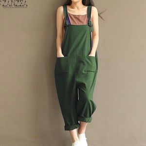 Zanzea Collection Green Cotton Jumpsuit, sz M